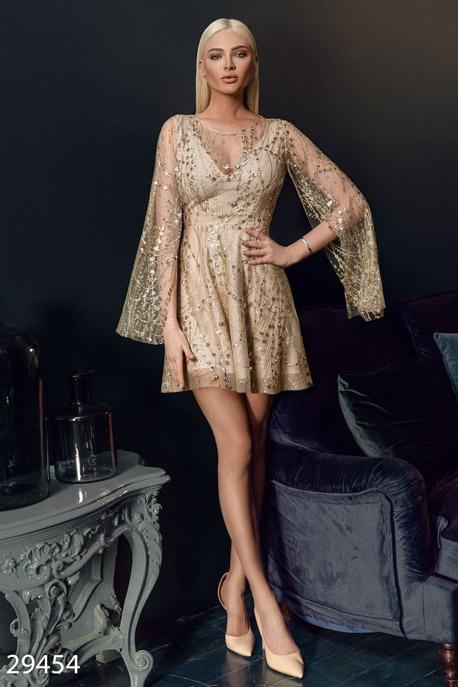 Купить Платья / Premium, Платье-мини с открытой спинкой, Платье-29454, GEPUR, бежево-золотистый