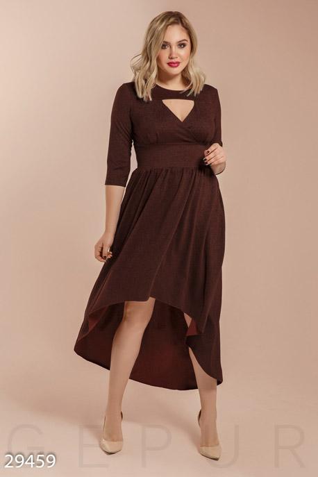 Купить Платья / Большие размеры, Асимметричное вечернее платье, Платье(батал)-29459, GEPUR, коричневый