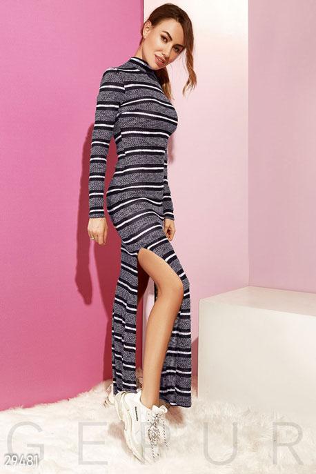 Купить Платья / Макси, Удлиненное платье с разрезами, Платье-29481, GEPUR, темно-синий