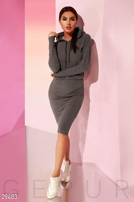 Купить Платья / Спортивные, Спортивное платье с капюшоном, Платье-29483, GEPUR, темно-серый