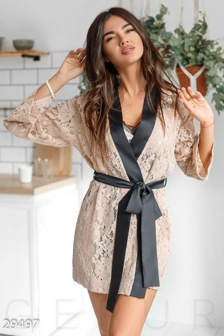 Купить Одежда для дома, Кружевной пеньюар Gepur, Пеньюар-29497, бежевый