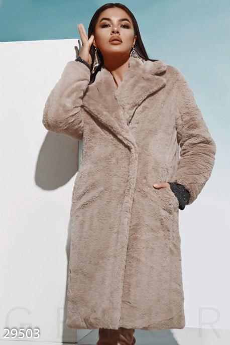 Купить Верхняя одежда / Premium, Трендовое меховое пальто, Шуба-29503, GEPUR, темно-бежевый