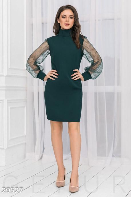 Купить Платья / Мини, Платье с воротником-стойкой, Платье-29527, GEPUR, зеленый