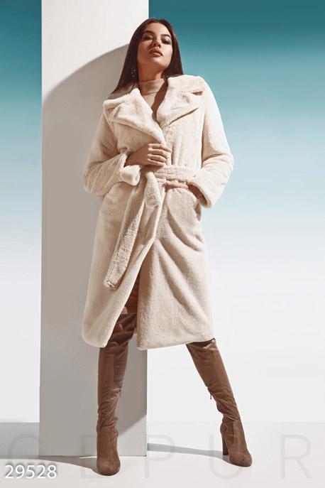 Купить Верхняя одежда / Premium, Мягкая меховая шуба, Шуба-29528, GEPUR, светло-бежевый