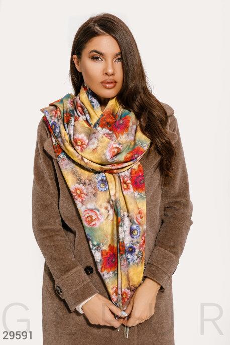 Купить Перчатки, шарфы, шапки / Платки, Двусторонний яркий палантин, Палантин-29591, GEPUR, бежево-желтый