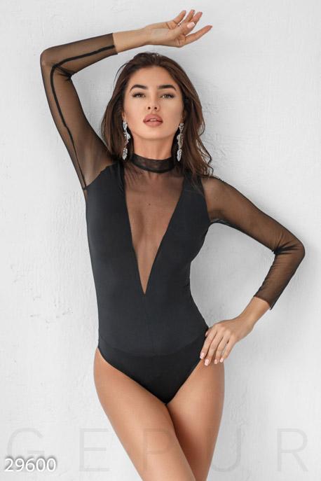 Купить Блузы, рубашки, Боди с глубоким вырезом, Боди-29600, GEPUR, черный
