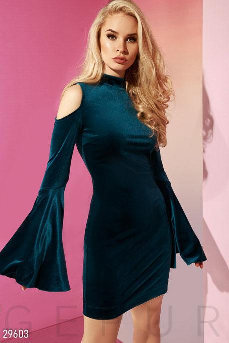 Купить Платья / Миди, Платье с расклешенными рукавами, Платье-29603, GEPUR, темно-бирюзовый