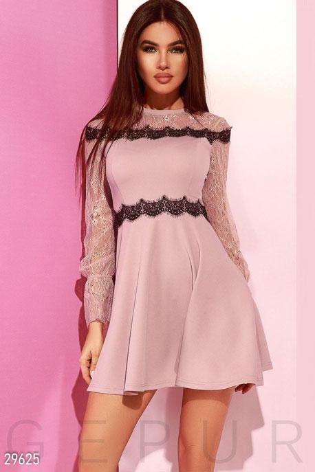 Купить Платья / Мини, Платье с прозрачными рукавами, Платье-29625, GEPUR, светло-лиловый