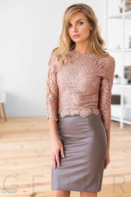 Купить Костюмы и комплекты / Низ юбка, Стильный вечерний комплект, Костюм-29626, GEPUR, розово-бежевый