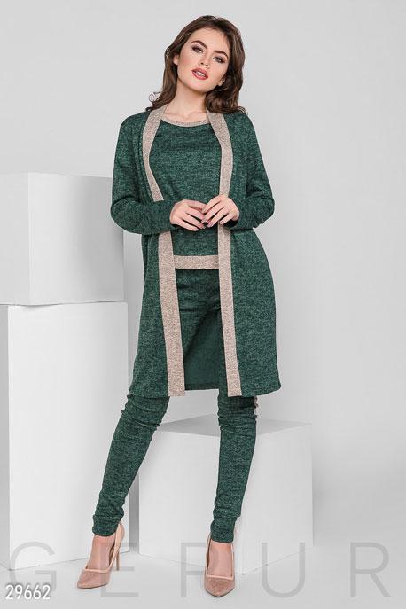 Купить Костюмы и комплекты / Низ брюки, Теплый трикотажный костюм, Костюм-29662, GEPUR, зеленый меланж