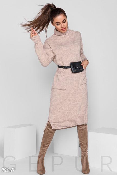Купить Платья / Миди, Теплое объемное платье, Платье-29667, GEPUR, бежевый меланж