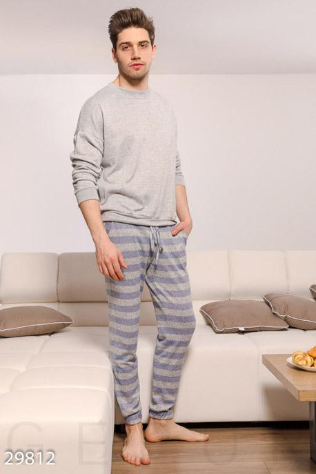 Купить Мужская одежда, Мужская пижама в полоску, Пижама-29812, GEPUR, серый меланж