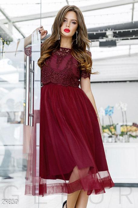 Купить Платья / Миди, Вечерний комплект с кружевом, Платье-29850, GEPUR, красный