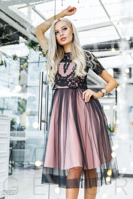 Купить Платья / Миди, Платье с кружевным топом, Платье-29851, GEPUR, бежево-черный