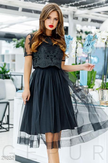 Купить Платья / Миди, Платье с объемной юбкой, Платье-29852, GEPUR, черный