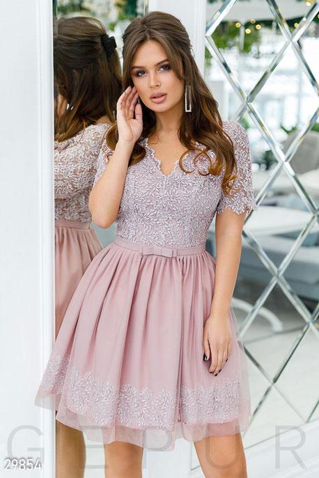 Купить Платья / Мини, Вечернее платье с кружевом, Платье-29854, GEPUR, пудровый
