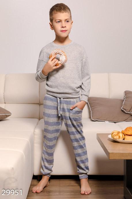 Купить Детская одежда, Трикотажная пижама для мальчиков, Пижама детская-29951, GEPUR, серо-голубой