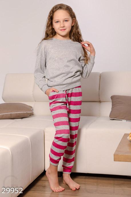 Купить Детская одежда, Трикотажная пижама для девочек, Пижама детская-29952, GEPUR, серо-розовый