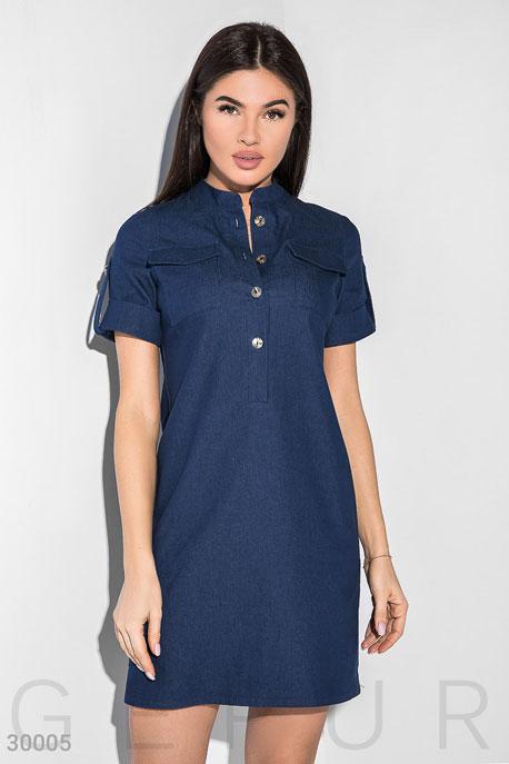 Купить Платья / Мини, Короткое платье с карманами, Платье-30005, GEPUR, темно-синий
