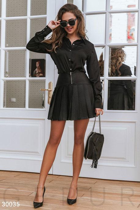 Купить Юбки / Кожаные, Короткая юбка в складку, Юбка-30035, GEPUR, черный