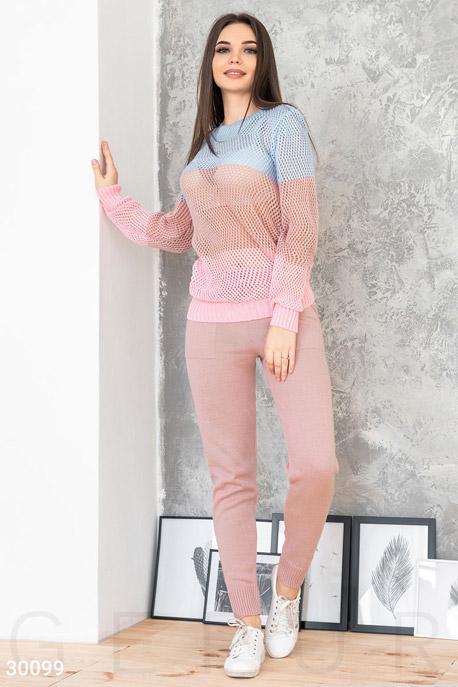 Купить Костюмы и комплекты / Низ брюки, Стильный вязаный костюм, Костюм-30099, GEPUR, розово-голубой