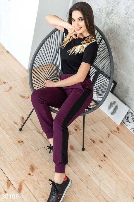 Купить Брюки, леггинсы, шорты / Большие размеры, Женские брюки из трикотажа, Брюки-30109, GEPUR, бургунди
