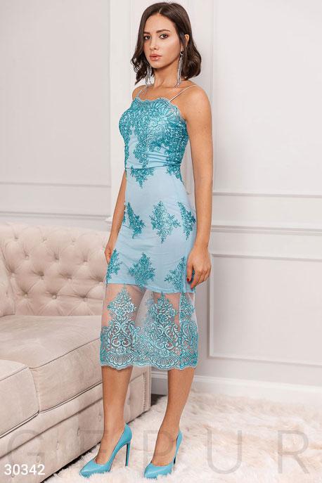 Купить Платья / На выпускной, Вечернее платье с вышивкой, Платье-30342, GEPUR, голубой