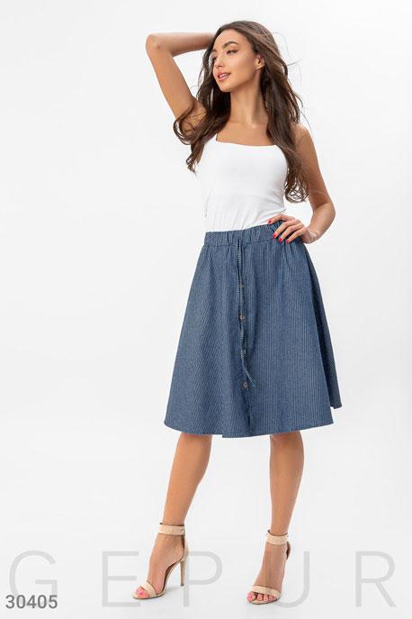 Купить Юбки / Полусолнце, Джинсовая юбка в складку, Юбка-30405, GEPUR, синий