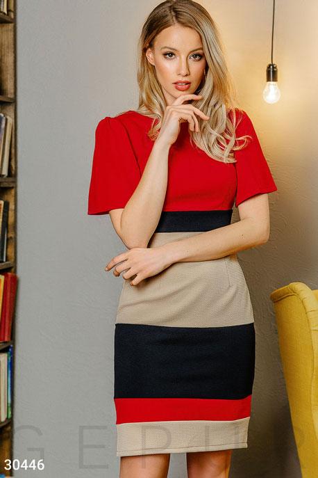 Купить Платья / Мини, Трехцветное трикотажное платье, Платье-30446, GEPUR, красно-бежевый