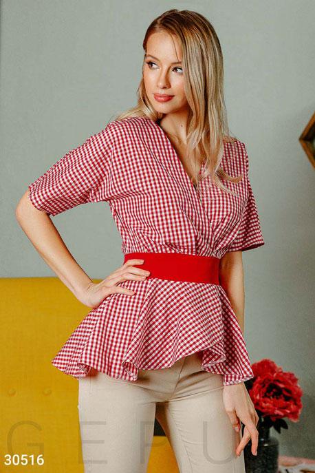 Купить Блузы, рубашки, Женская блуза на запа́х, Блуза-30516, GEPUR, красно-белый