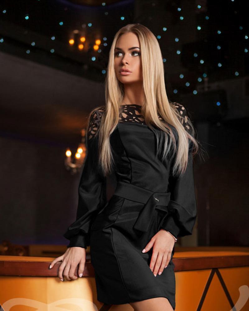 Купить Platya_platya-mini, Платье с прозрачной кокеткой, Gepur