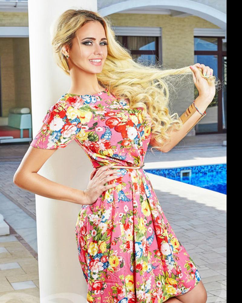 Расклешенное платье с принтом фото