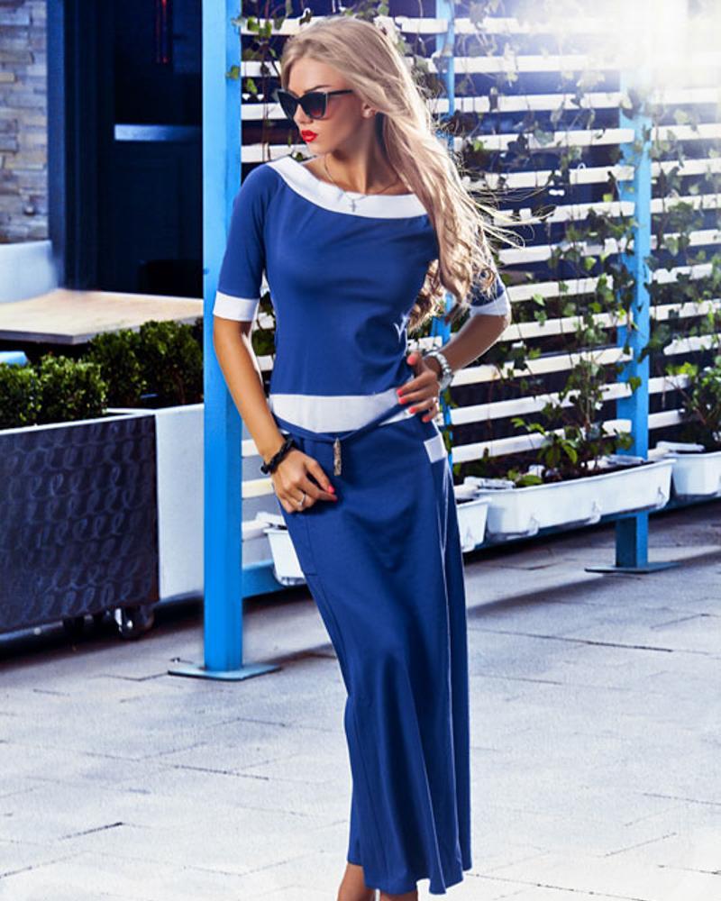 Длинное трикотажное платье фото