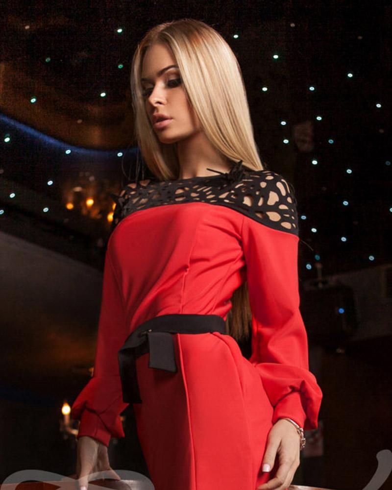 Platya_platya-bolshih-razmerov, Платье с прозрачной кокеткой, Gepur  - купить со скидкой