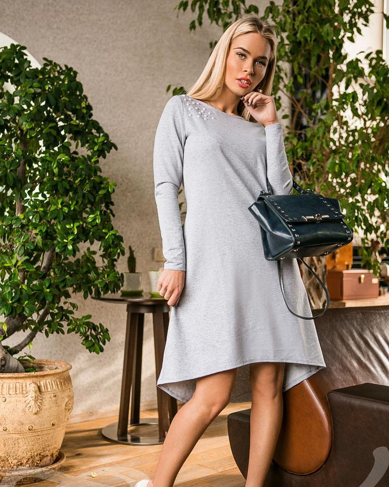 Асимметричное трикотажное платье фото