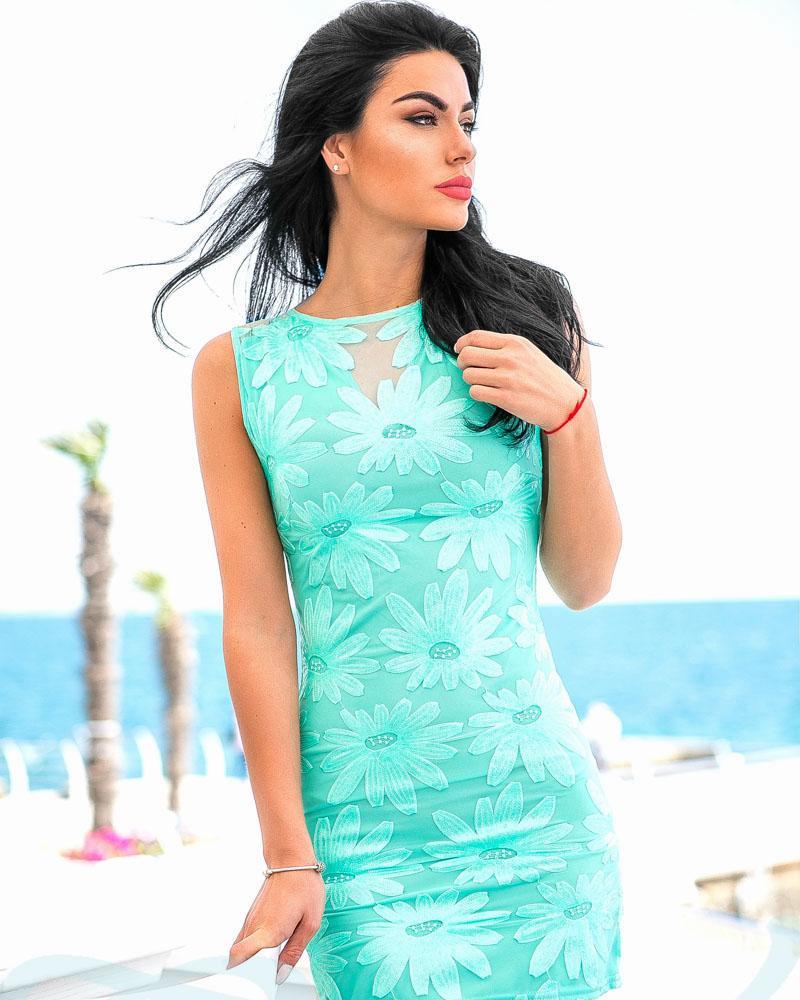 Коктейльное платье мятного цвета