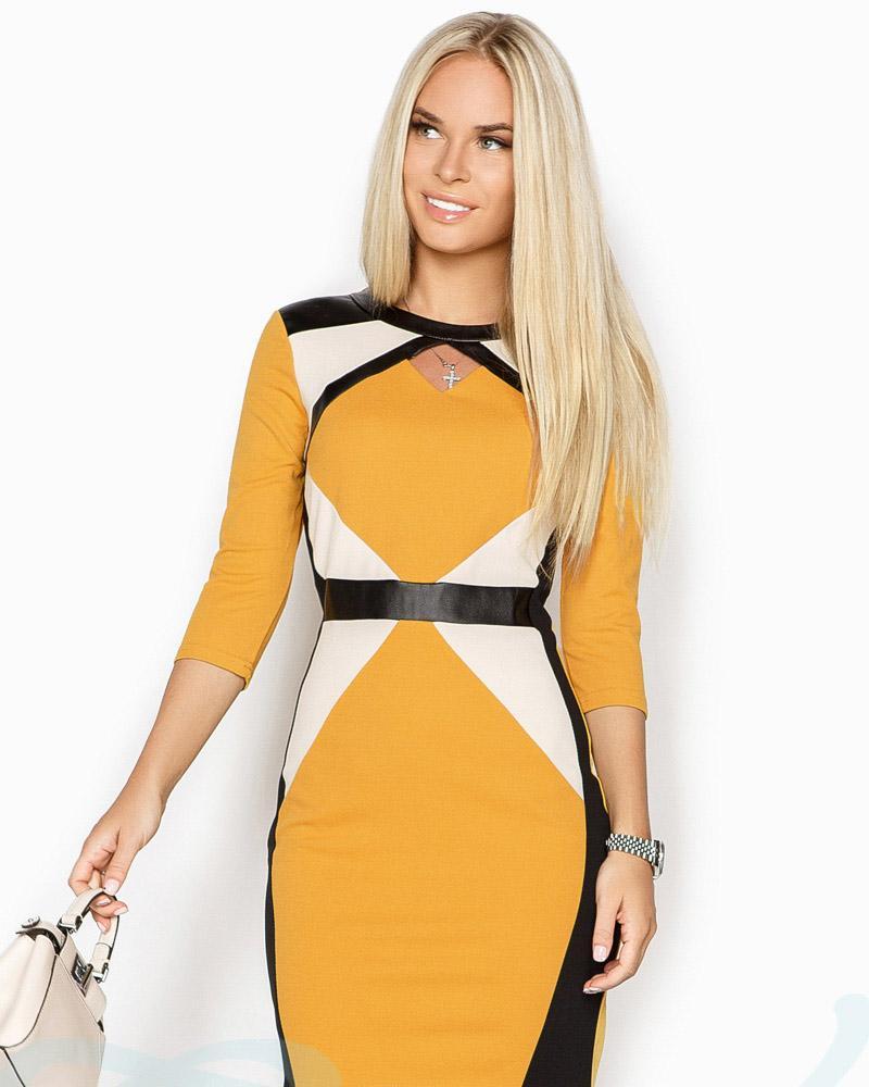 Платье с кожаными вставками фото