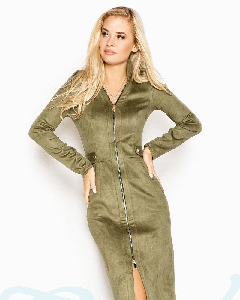 Купить Platya_platya-bolshih-razmerov, Облегающее замшевое платье, Gepur