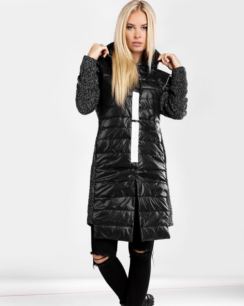 Комбинированное демисезонное пальто
