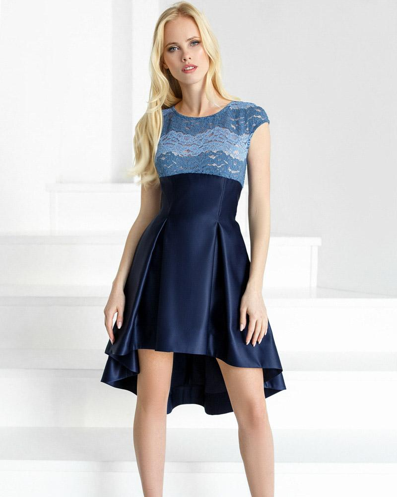 Атласное каскадное платье фото