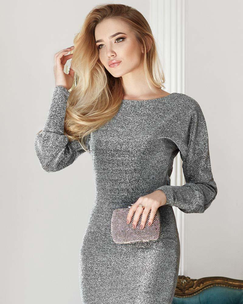 Облегающее платье с люрексом фото