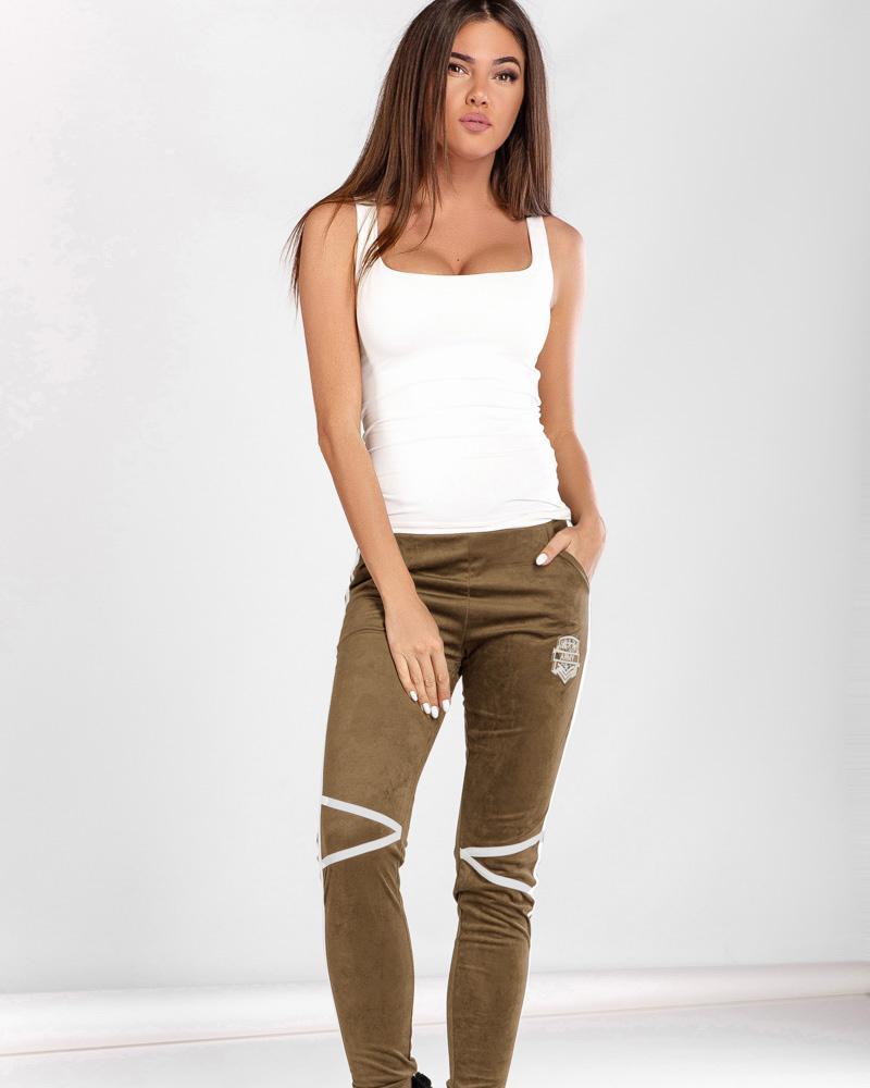 Облегающие замшевые брюки фото