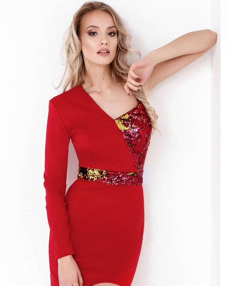 Комбинированное коктейльное платье фото