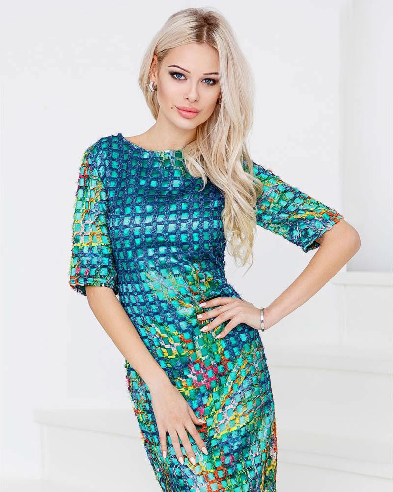 Атласное платье-сетка фото
