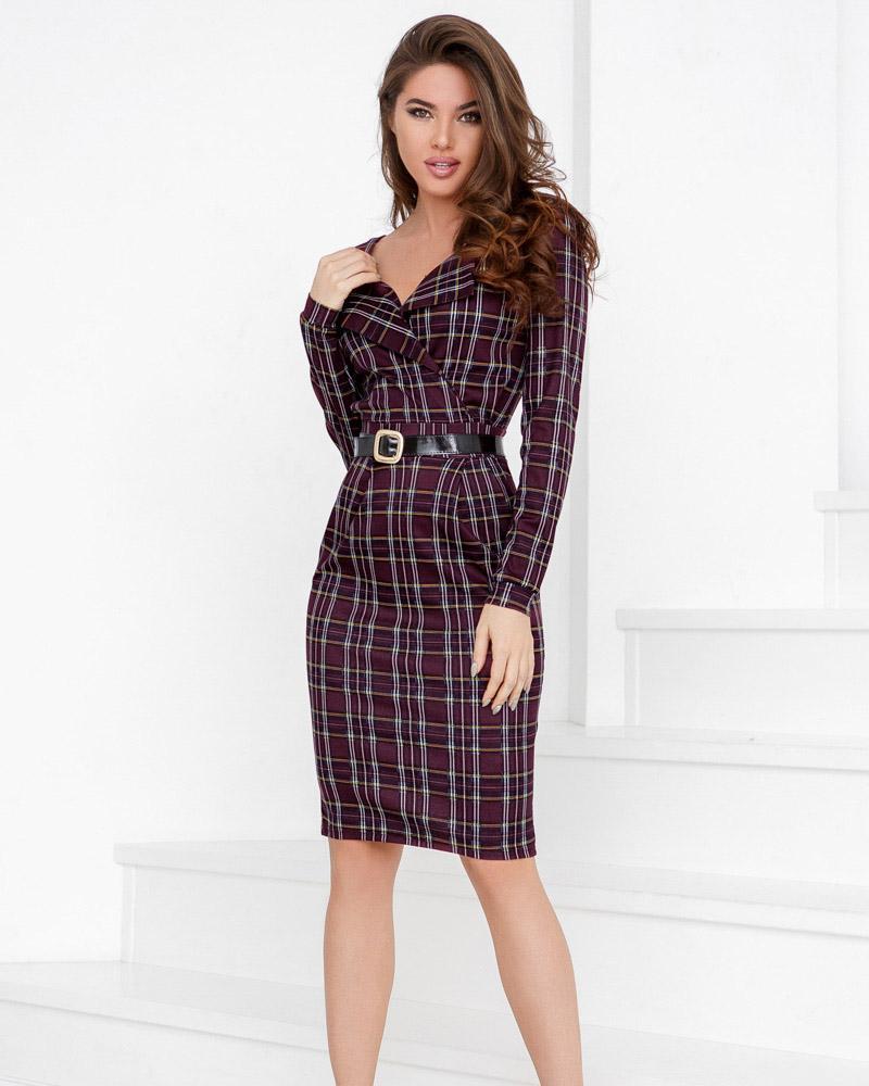 Трикотажное платье-шотландка фото