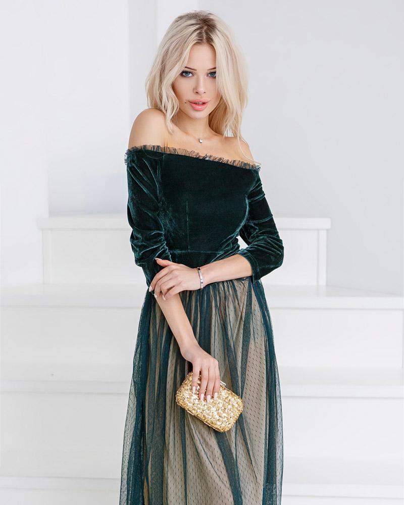 Купить Platya_platya-midi, Двухцветное бархатное платье, Gepur