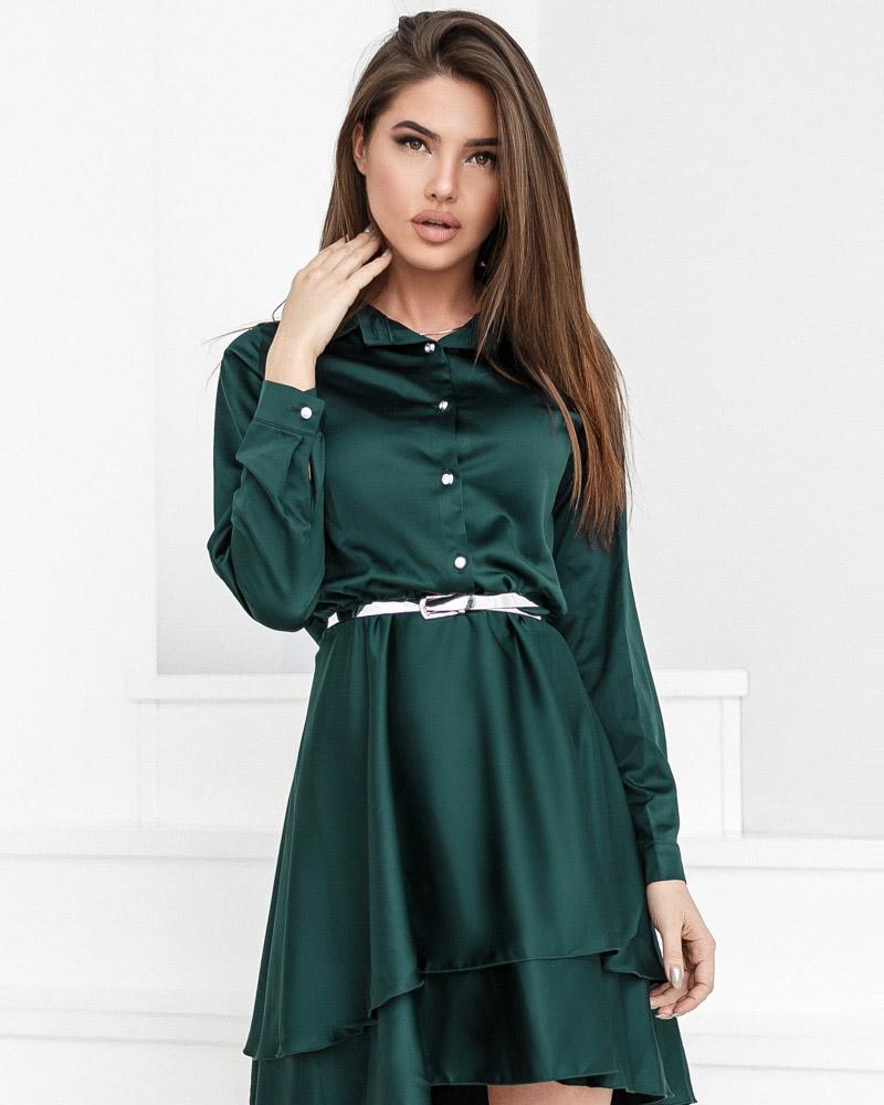 Шелковое каскадное платье фото