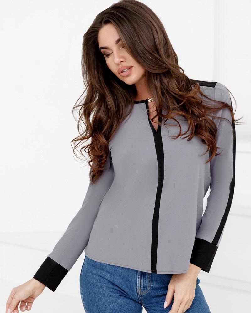 Контрастна шифонова блуза от Gepur