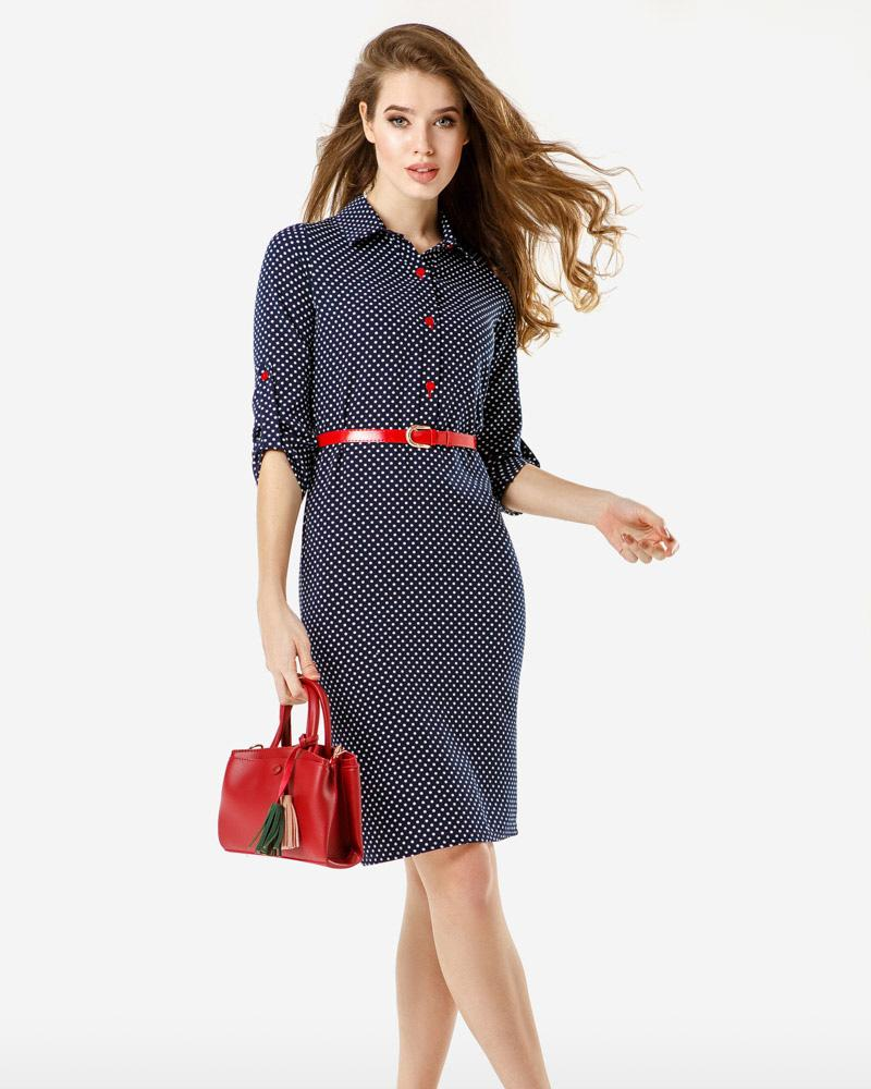 Офисное платье в горошек от Gepur