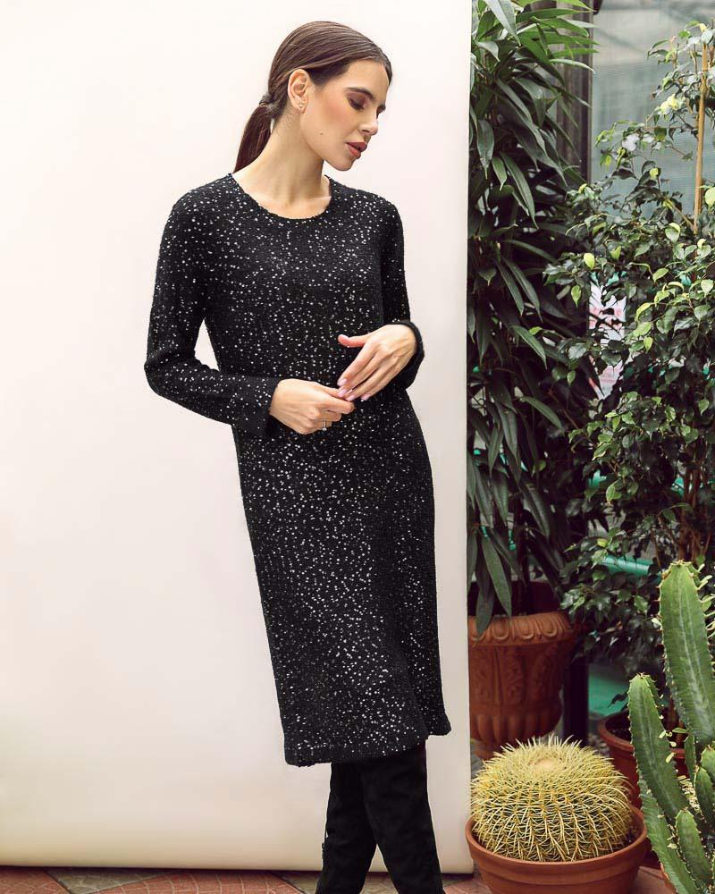 Блестящее теплое платье